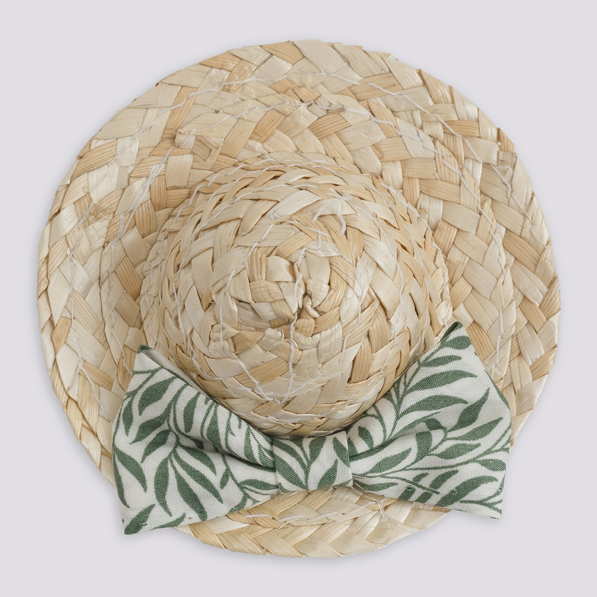 Mini Straw Hat Barrette - Willow Wood